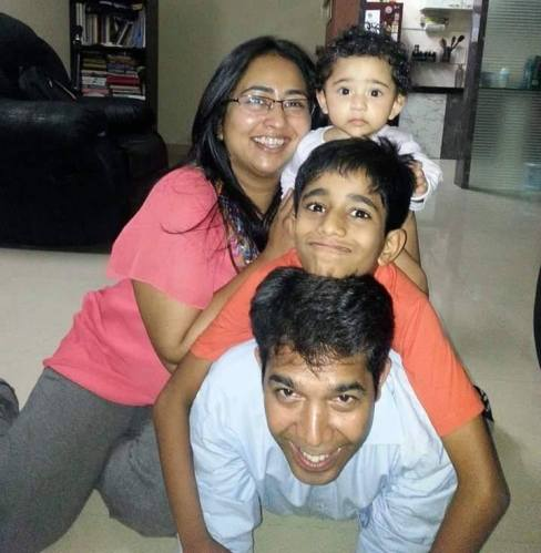 Amarkant and Mayura with children