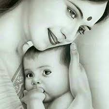Indian mother dreaming with child