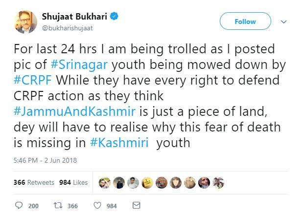 Shujaat Bukhari Tweet
