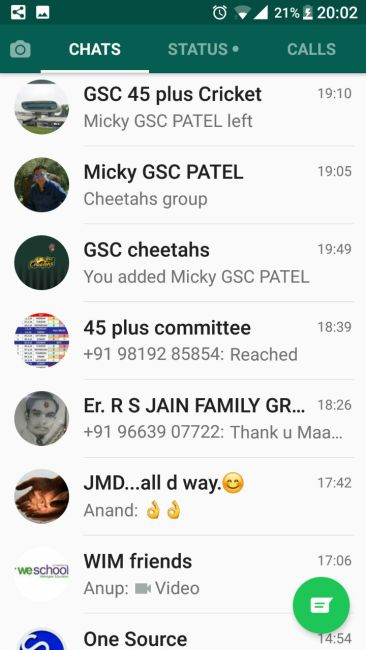 WhatsApp Group list