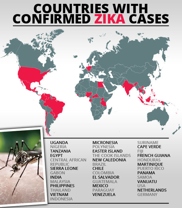 Zika cases in the world