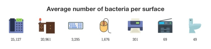 Bacteria on surfaces