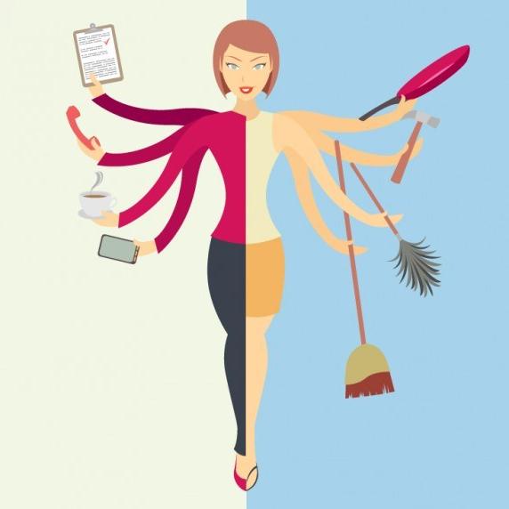 Multi tasking woman