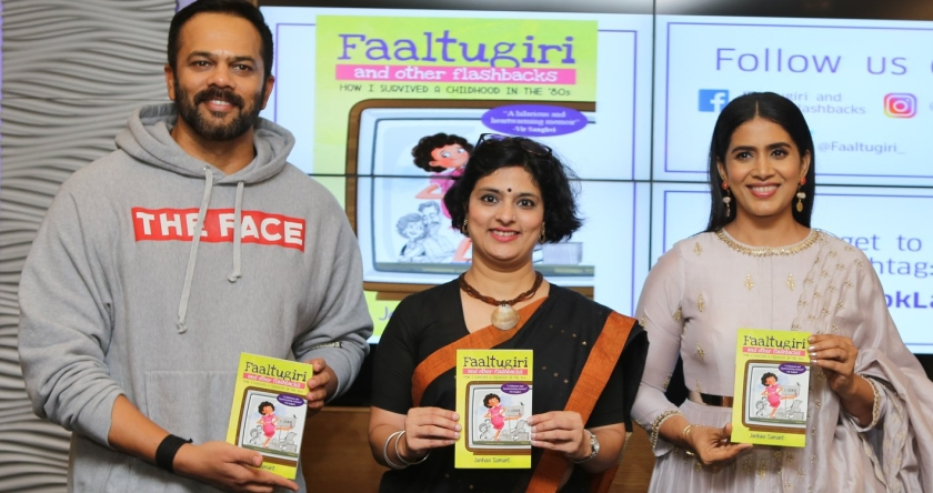 Rohit Shetty & Sonali Kulkarni at the launch of Janhavi Samant's Faaltugiri