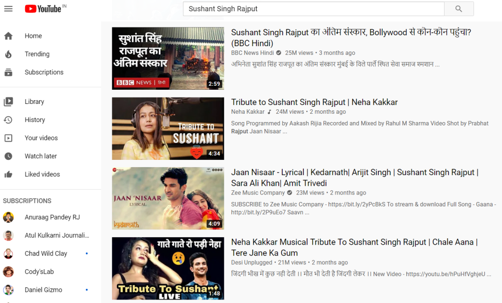 Here are some examples of the videos with the highest views on YouTube associated with Sushant Singh Rajput.  Source: YouTube